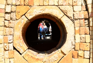 A peephole leading the eye into the kiln and through the loading portal is the immediate focus of this composition. The various patterns surrounding the opening reminded me of a quilt pattern.