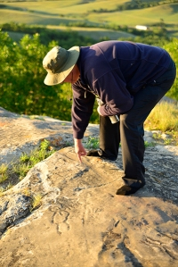 "Our guide from ""The Friends of St. Victor Petroglyphs"" actively interpreted the various markings on the sandstone slab."