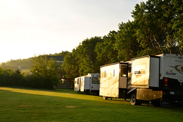 The camp sites in early morning light. Three participants arrived with their portable homes.