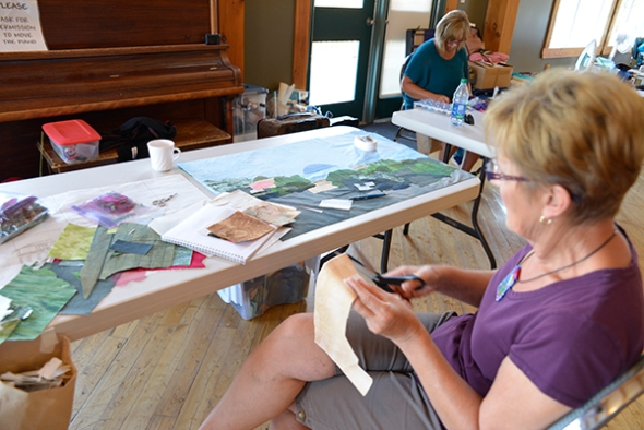 Cathy is making great progress on her landscape collage of a Mexican vista.