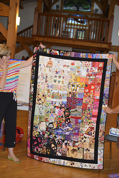 "Gillian, a third time summer workshop participant and ardent supporter arrived with a sktchbook full of design work and a very personal statement quilt covering ""all the great things in her life!"""