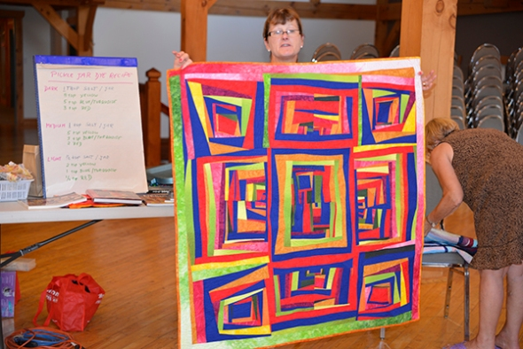 Patti is an art quilter from Alberta who teaches and exhibits regularly. Her strong sense of color cheered up everyone.