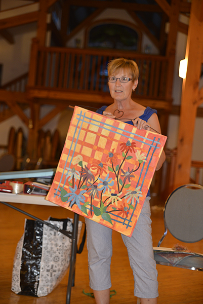 Cathy has recently arrived in the art quilt world. She brought along some colorful creations to introduce herself.