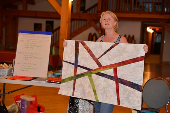 Donna brought along her piece from 2012 at Emma Lake, a piece that was accepted into a banner competition in Fernie, BC earlier this year.