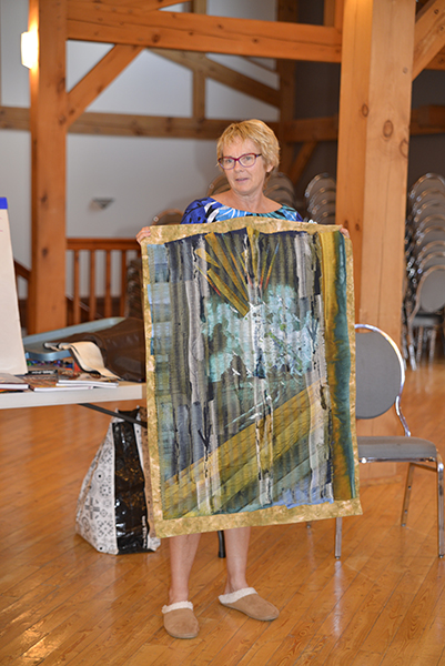 "Paula participated at Emma Lake in 2012 and has continued to work on her own over the past twelve months. ""My Way"" is one of the works she shared from her journey along the road of art quilting in solitude."
