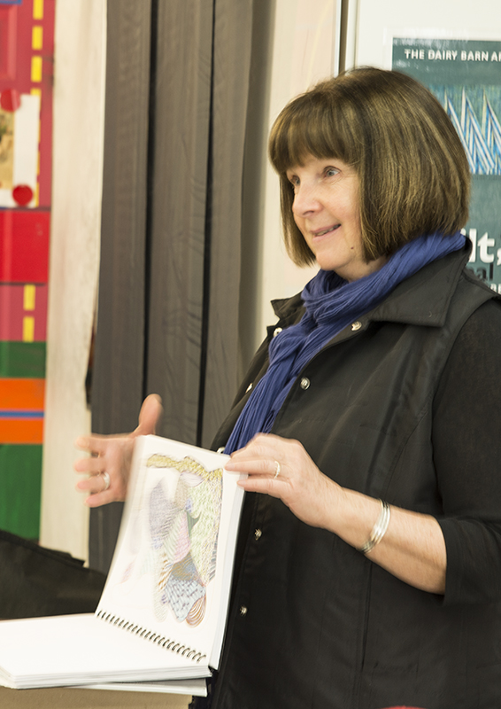 Pat began her study based on the limited color palette used by David Milne. Indepth research lead her to explore mark making and when she found soem exciting metallic markers Pat was off into her own world of experimentation. She also created some dimensional pieces when experimenting with wheat paste. She is still planning on trying her skill with her friends' printing press... there is not stopping this artist!