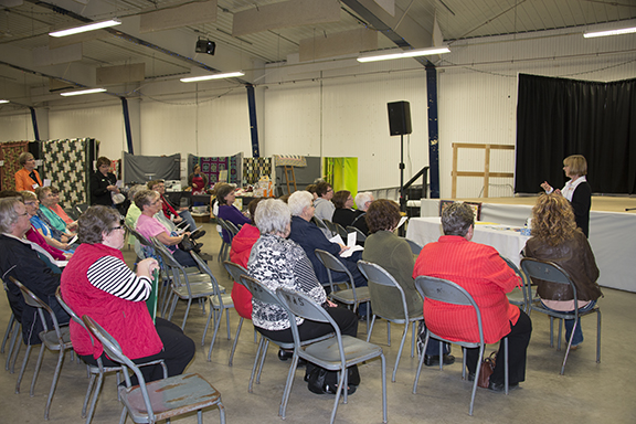The first free seminar of the quilt show presented by one of the vendors was popular.