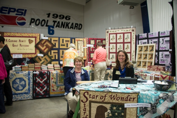 Quilt shows in smaller centers or town are  so much more exciting! Corinne Hewitt came all the way from Hanna, AB. You may recognize the name - I taught a workshops at Corinne's shop a year ago. It was great to reconnect with her and meet her mom who lives in Carlisle, SK.