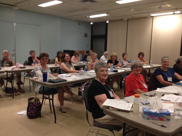 """On Day 1 of Quilt Canada an eager group of 20 gathered to participate in the design class """"Twisting Nature""""."""