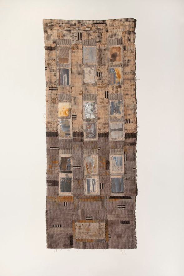 "Colours of Abandonment by Joanne Young, 2013, 16""x42"". Cottons, linens, silk, vintage Japanese fabric, screening, curtain fabric, plastic, bubble wrap. Rusted, dyed with tea and iron, hand stitched."