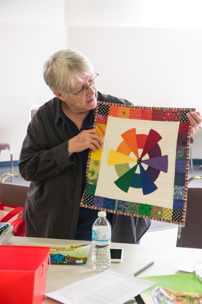 Kathleen showed off her colour wheel in fabric. She only had to purchase three fabrics to complete the wheel!