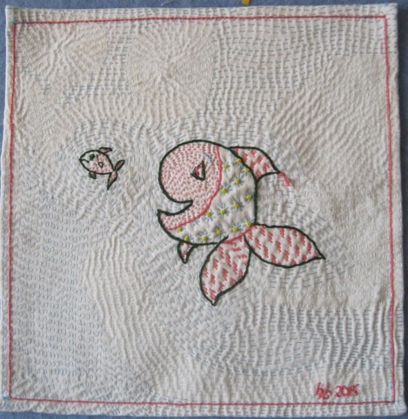 "Kantha Fish by Helene Blanchet: She sent it yesterday with the following note - ""Hi Anna,, Thought you might enjoy seeing a picture of the little Kantha sampler I started in 2012 in your workshop in Halifax. I had an awful lot of fun making this - don't know why it took so long!  Enjoy, Helene"""