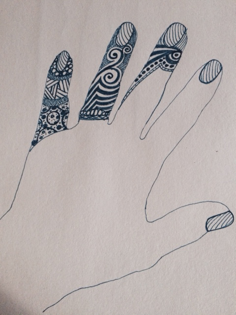 Hand doodle in progress