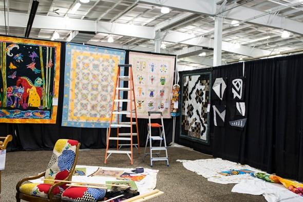 It didn't take long to get the larger quilts up.