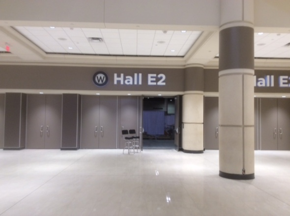 The hallowed halls of the Orlando Convention Center are mostly empty today...