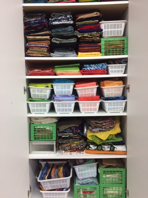The first fabric cupboard is organized. It contains most of my hand dyed and commercial cotton and silk fabrics. So far - so good!